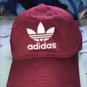Adidas red dad hat